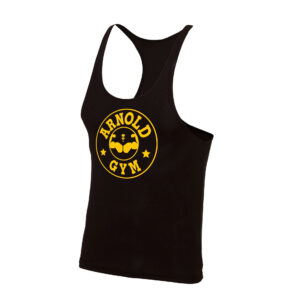 mens-bodybuilding-training-muscle-stringer-black-vest arnold gym