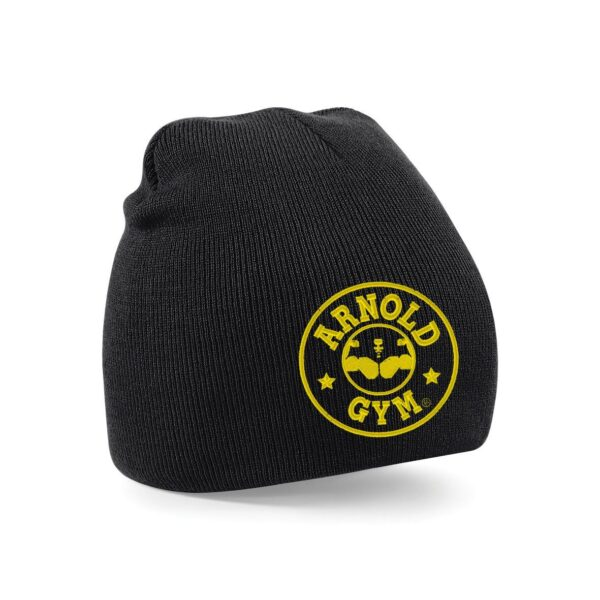 Knitted Sports Gym Beanie Black Hat Arnold Gym