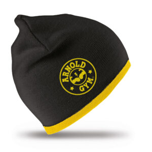 Knitted Sports Beanie Black Gold Hat arnold gym