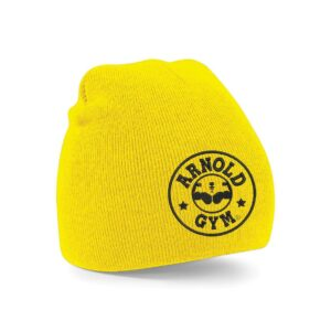 Knitted Sports Gym Beanie Yellow Hat Arnold gym wear