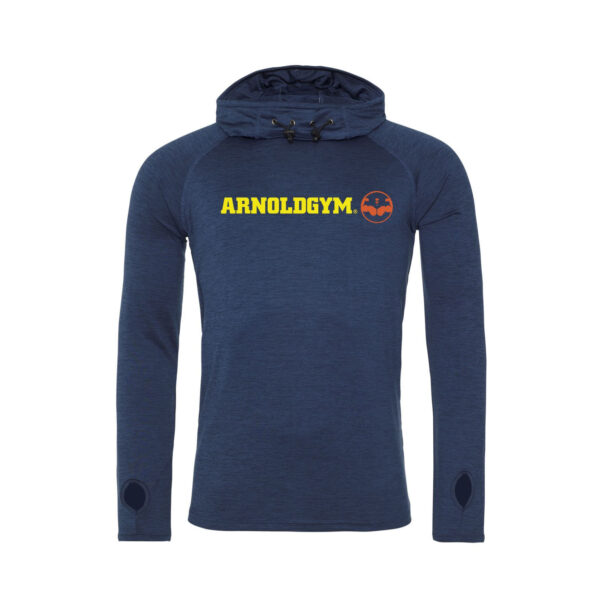 Athletic Cowl Neck Hooded Navy Marl Top