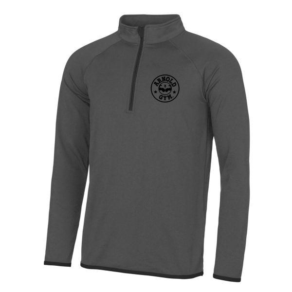 Men's AG Muscle Fit Grey Black 1/2 Zip Top