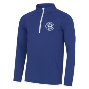 Men's AG Muscle Fit Blue White 1/2 Zip Top
