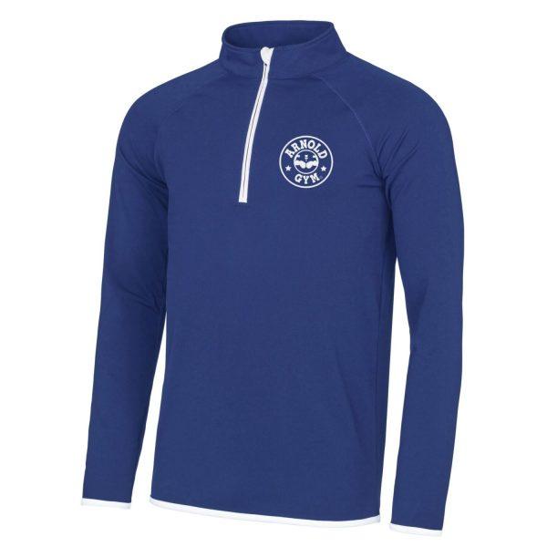 Men's AG Muscle Fit Blue White 1/2 Zip Top
