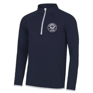 Men's AG Muscle Fit Navy White 1/2 Zip Top