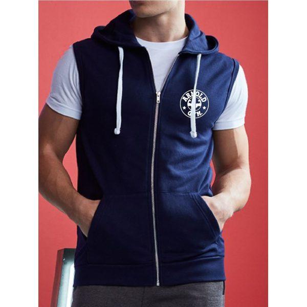 mens-bodybuilding-training-outwear-sleeveless-navy-hoodie arnold gym