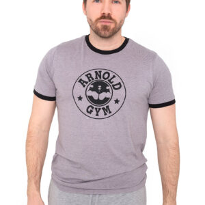 Retro-Bodybuilding-Workout-Training-Grey-Black-T-Shirt-Arnold-Gym