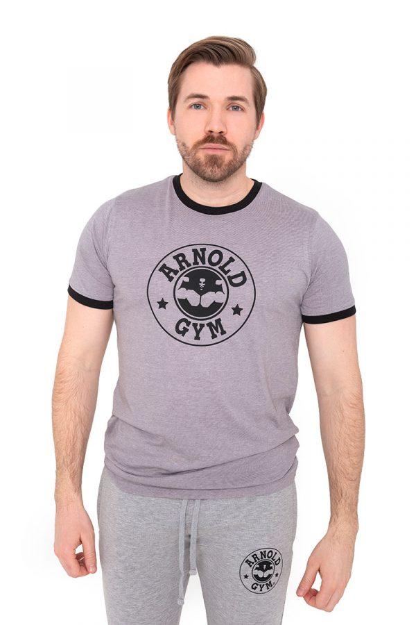 Retro-Bodybuilding-Workout-Training-Grey-Black-T-Shirt-Arnold-Gym