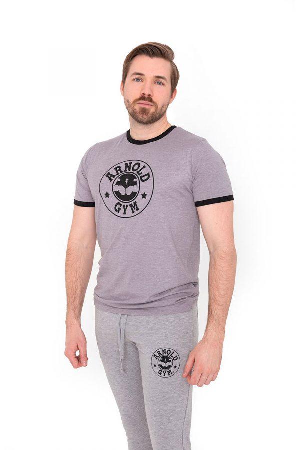 Retro-Bodybuilding-Workout-Training-Grey-Black-T-Shirt