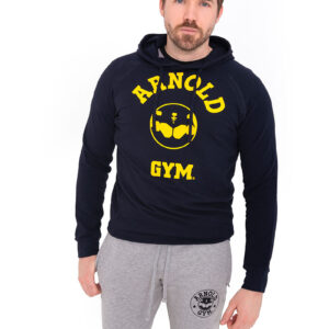 Arnold-Gym-Legend-Training-Hooded-Navy-T-shirt