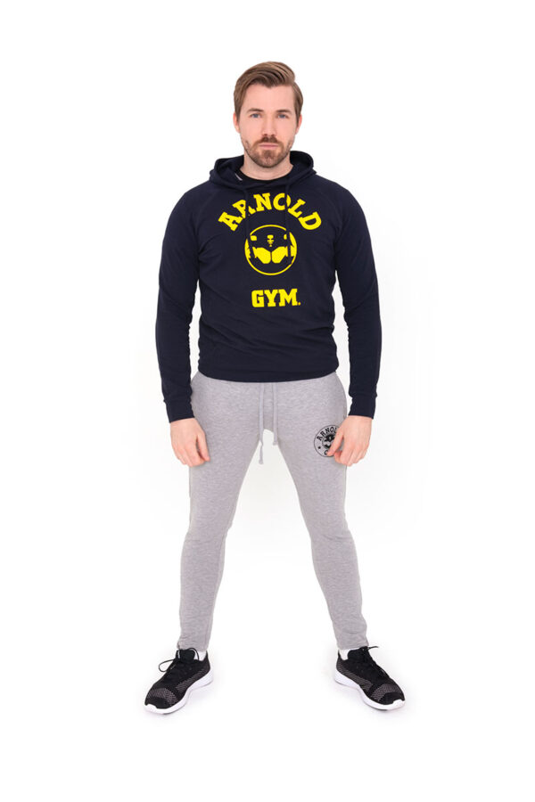 Arnold-Gym-Legend-Training-Hooded-Navy-gym-T-shirt