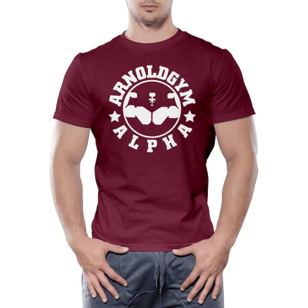 Alpha-Arnold-Gym-workout-training-maroon-burgundy-t-shirt