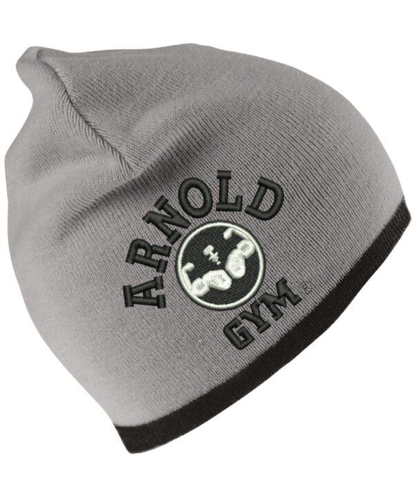 arnold-gym-beanie-hat-black-embroidery-grey