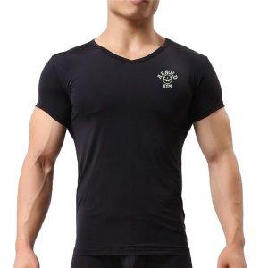 arnold bodybuilding v neck gym t-shirt-black